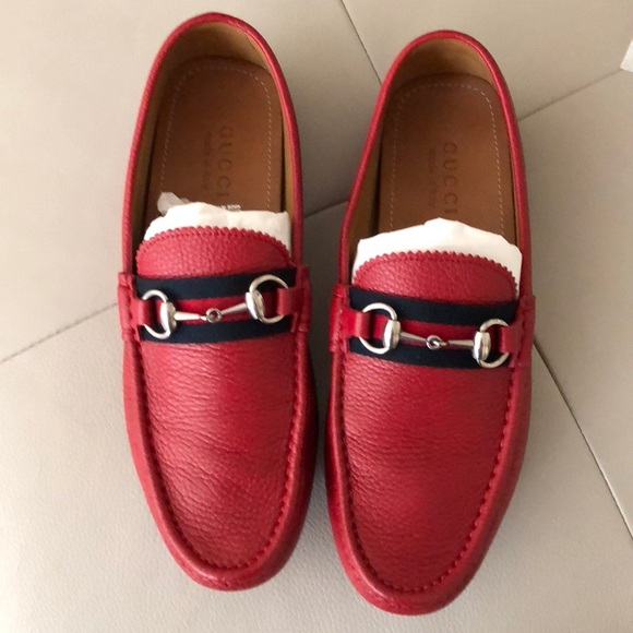 2b0ac280f Gucci Shoes | Mens Red Loafers 85g Driving Moccasins | Poshmark